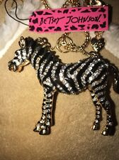 Betsey Johnson Necklace Zebra GOLD CRYSTALS