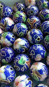 80+ Vintage Cloisonne 12mm Round Beads—Navy with Pink and Green Floral Accent