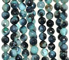 """12MM GREEN AGATE GEMSTONE GREEN FACETED ROUND 12MM LOOSE BEADS 15"""""""