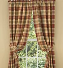 LINED PANEL CURTAINS 72WX84L SAFFRON COUNTRY RED SAGE GREEN GOLDEN TAN PLAID