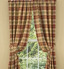 Saffron Lined Panel Curtains 72WX84L Country Red Sage Green Golden Tan Plaid