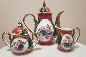 Vintage Multicolored Decorative Tea Set With Flowers And Gold Details