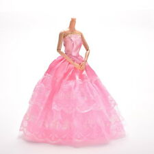 1 Pc Lace Pink Party Grown Dress for Pincess Barbies 2 Layers Girl's Gift ~