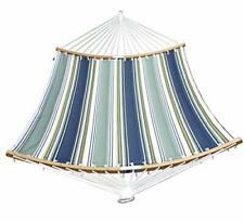 SUNLAX Double Hammock Quilted Fabric Swing with Strong Curved-Bar Bamboo Deta...