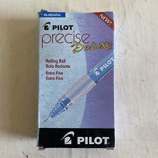 One Dozen Pilot Precise Deluxe Roller Ball Extra Fine BLUE PENS vtg 26032 PX-5