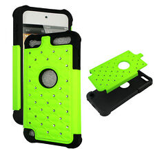 Neon Lime green for IPod Touch 5 PCSoft 2 in 1 Rhinestone silicon Cover Case