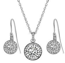 Sterling Silver Cubic Zirconia Planet Pendant Necklace Chain & Earrings Set S1