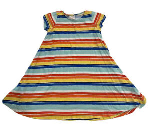 Hanna Andersson 150cm US 12 Short Sleeve Play Dress Striped Blue Yellow Red