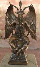 Baphomet Dämon mit Ziegenkopf 37 Cm Poly bronzierte Figur Museums Kollektion