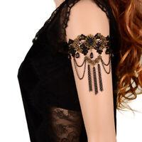 Women Gothic Bridal Armband Armlet Arm Band Black Flower Lace Beads Bracelet