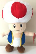 "NWT LARGE 14.5"" Official Super Mario Toad Plush Stuffed Toy Authentic Licensed."