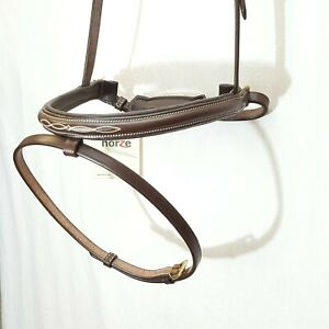 Horze CRANK FLASH Noseband Cavesson BROWN XFULL Raised Padded Fancy Stitch OS WB