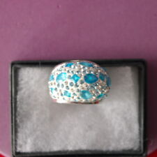 BEAUTIFUL BIG 925 SILVER RING WITH BLUE & WHITE TOPAZ 19.6 GR.SIZE N12 IN BOX