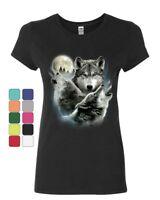 Howling Wolf Pack Women's T-Shirt Wild Wilderness Animals Nature Moon Shirt