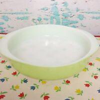 """Vintage Pyrex Lime Green Round Cake Pan Baking Dish 221 8"""" White Glass Baker"""
