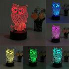 USB Gifts Owl 3D Night Light Lighting Change LED Table Desk Lamp Xmas Fashion