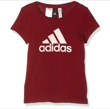 adidas Girl Sport Casual T-shirt Essentials Logo Tee Wine Red Rosa 170
