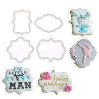 4pcs vintage plaque frame cookie cutter set plastic biscuit cutter cake too RA#