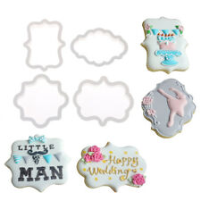 4pcs vintage plaque frame cookie cutter set plastic biscuit cutter cake tools LY