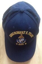 USNS ROBERT E. PEARY T-AKE 5 T-AKE-5 BASEBALL CAP HAT, NAVY BLUE, NEW NWOT