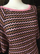 MISSONI Pullover Zacken Schwarz braun Rosa Gr. 36