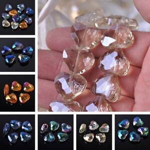 10pcs Heart Faceted Crystal Glass Loose Spacer Beads Charms DIY Jewelry Making