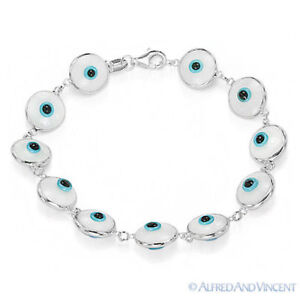 Evil Eye Greek Turkish Nazar Hamsa Kabbalah 925 Silver 10mm Bezel Bracelet Solid