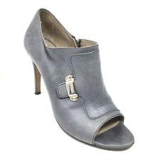 Women's Furla Booties Clogs Shoes Size 39 EU/8.5 B Gray Leather Side Zip Up AB7