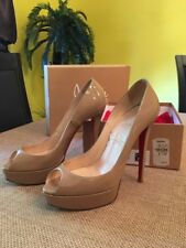 Christian Louboutin Banama 140 Patent Beige Calf Leather Heels 38.5 8.5
