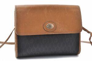 Authentic Christian Dior Honeycomb Shoulder Bag PVC Leather Black Brown CD A6875
