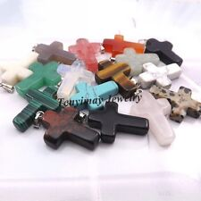 24pcs/lot Natural Stone Cross Pendant For Necklace DIYMix Lot