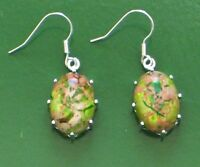 "Nice-looking Oval Green Copper Turquoise 925 Silver Plated Earrings 1.5"" hot!!!!"