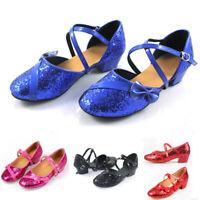Children Baby Kids Girls Shoe Princess Dancing Ballroom Tango Latin Dance Shoes