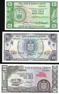 Western Samoa : 3 Pieces Set ($1 $2 $10 Tala) 1967 (2020) P-NEW UNC