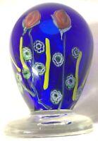 Murano Art Glass Studio 6 inch Footed Cobalt Vase Italy Millefiori Murrine