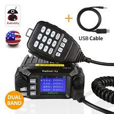US! Radioddity DB25 Quad-standby Mini Mobile Car Radio V/UHF Transceiver + Cable