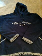 VTG  Tommy Hilfiger Fleece Pullover Mens XXL Navy Blue Hooded