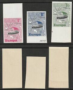 HERM IS 1963 EUROPA SET OF ALL 3 MARGINAL IMPERFORATE STAMPS UNMOUNTED MINT