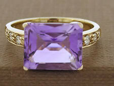 R098-Genuine 9K Yellow Gold Natural Large Amethyst & Diamond Cocktail Ring sz O