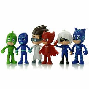 6Pcs Set PJ Mask Mini Figures Catboy Owlette Gekko Toy Cake Topper Decoration