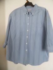CABIN CREEK WRINKLE FREE STAIN RELEASE BLUE STRIPED TOP SHIRT BLOUSE SZ   14