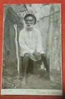 postcard c1900 Australian Aboriginal king at home front of humpy  star series