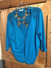 """Lovely Little Turquoise Blue Bolero Cardigan Size 20 A Small 20 Chest 42""""-44"""""""