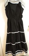 Vintage Dress pin up Black white beach nautical ruffle spanish Summer vacation S