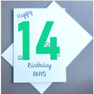 Personalised 14th Birthday Card Boy - 14 Years Old - Son Grandson Nephew