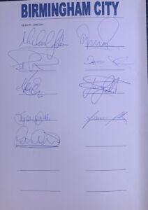 Fully Signed X17 Birmingham City FC Autograph Football Sheet Signatures