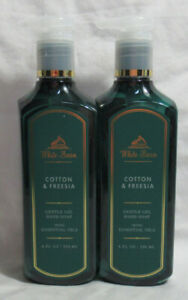 White Barn Bath & Body Works Gentle Gel Hand Soap Lot Set of 2 COTTON & FREESIA