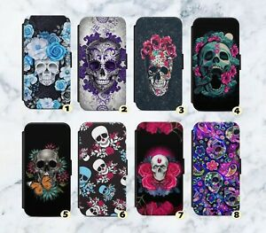 Skulls Skull Pretty Floral Faux Leather Flip Case Wallet For iPhone Samsung G96