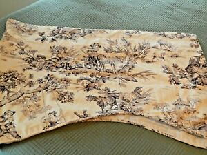 Country Curtains Toile Lined Scalloped Valance French Country 52x17 Creme/Brown
