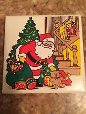 Vintage Jsny Christmas Holiday Santa Claus Tile Trivet Coaster Tree Children